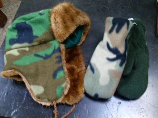 trapper hat and mitts