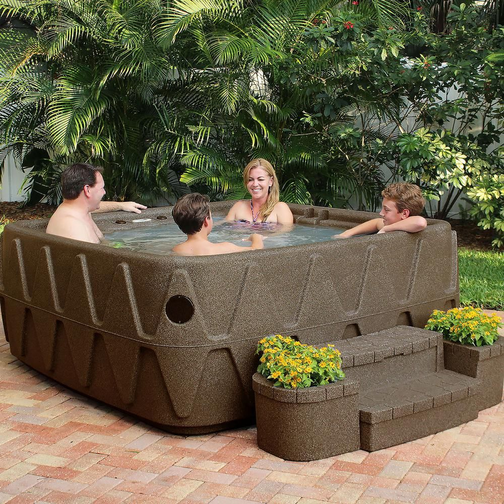 AquaRest Spas Elite 500 5-Person Plug and Play Lounger Hot Tub with 29 Stainless Jets Ozone and LED Waterfall in Brownstone-X5H-UHS-BB-FO