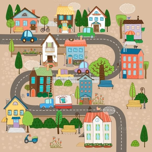 Town On Road Maps For Kids Town Map Downloadable Art