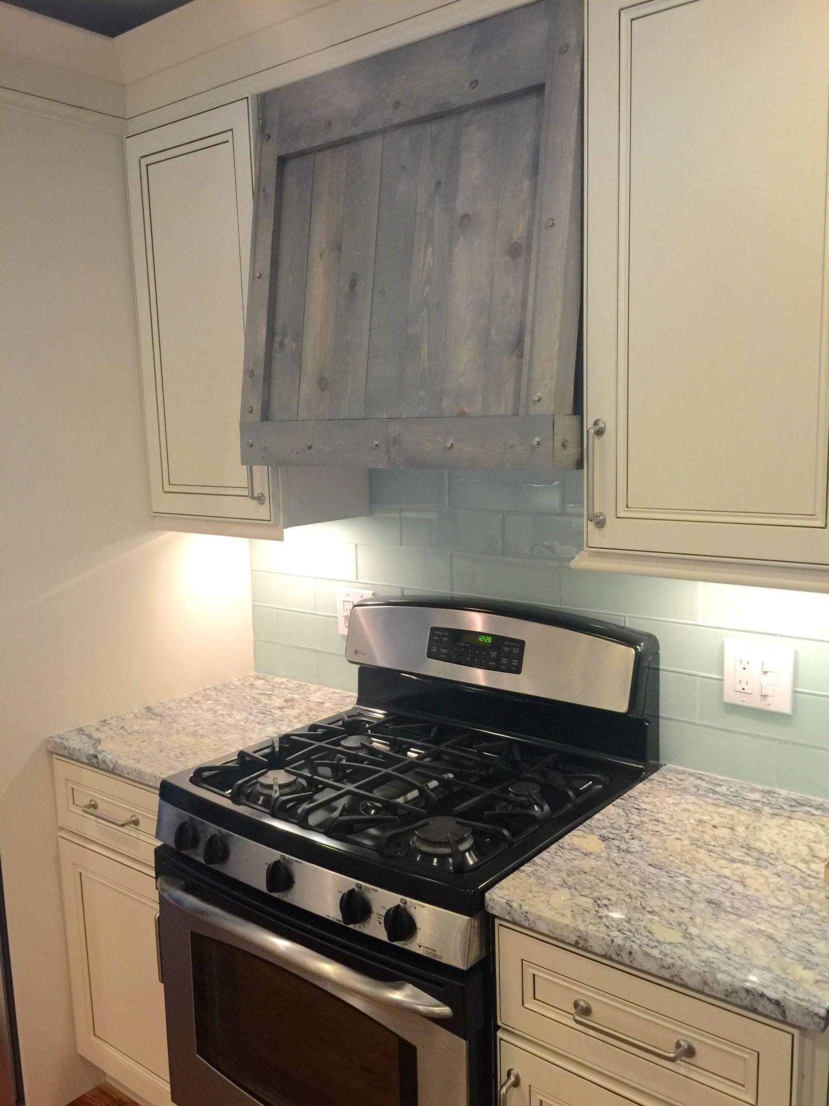 Rustic chic kitchen | Custom driftwood/salvage range hood ...