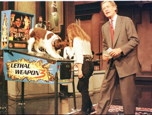 Letterman does tricks  on one