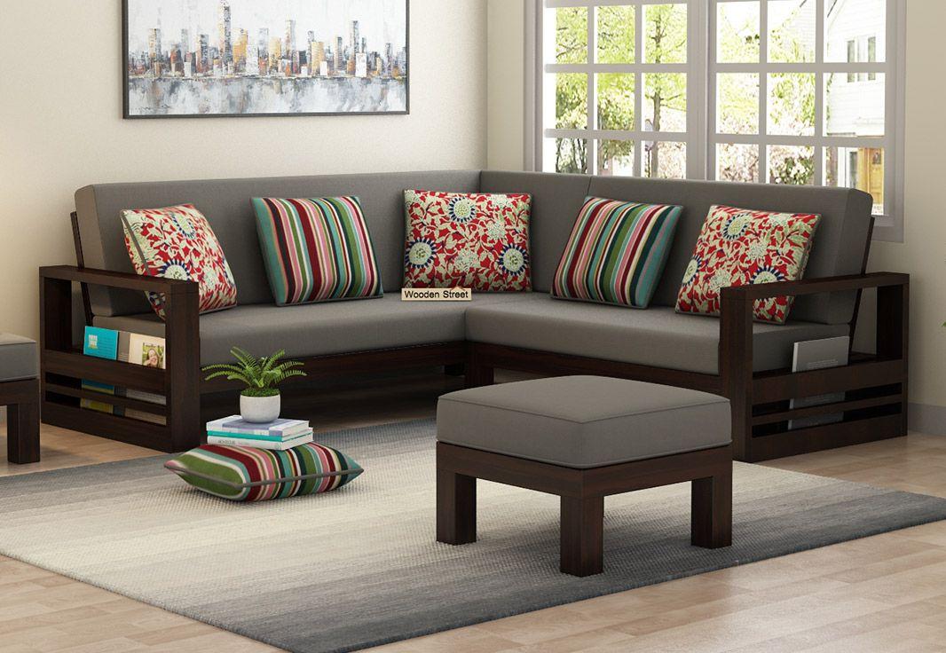 Buy Winster L-Shaped Wooden Sofa (Warm Grey, Walnut Finish ...