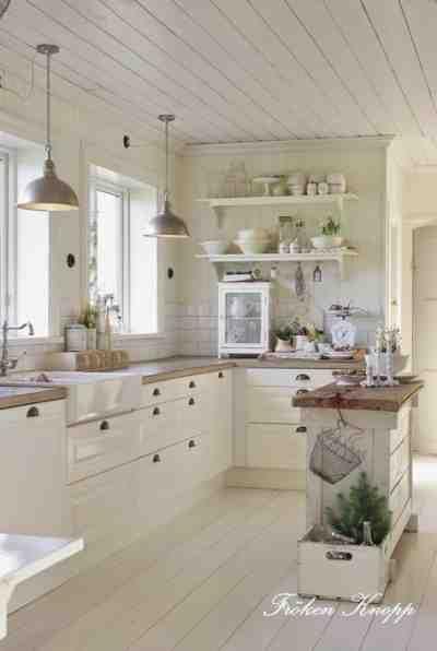 farmhouse kitchens, black and white pendants and modern farmhouse