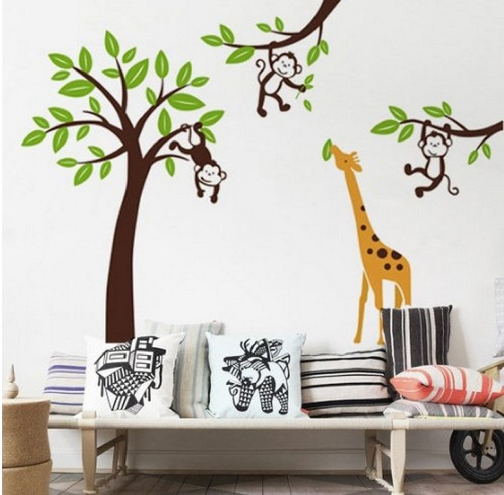 monkey tree jungle nursery wall art stickers decals giraffe