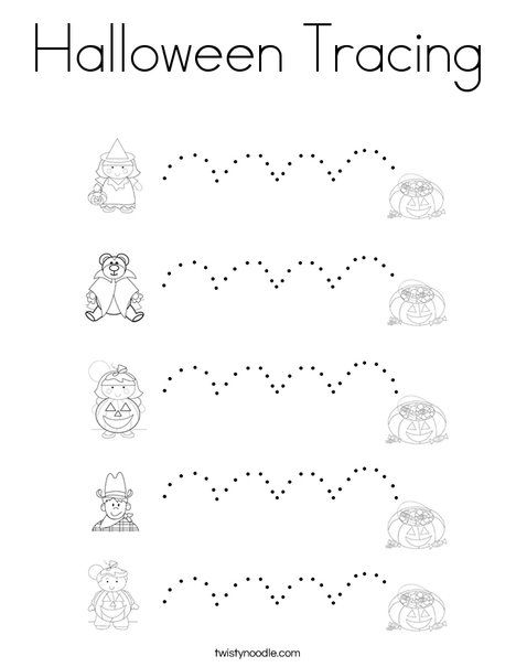 Halloween Tracing Coloring Page - Twisty Noodle ...
