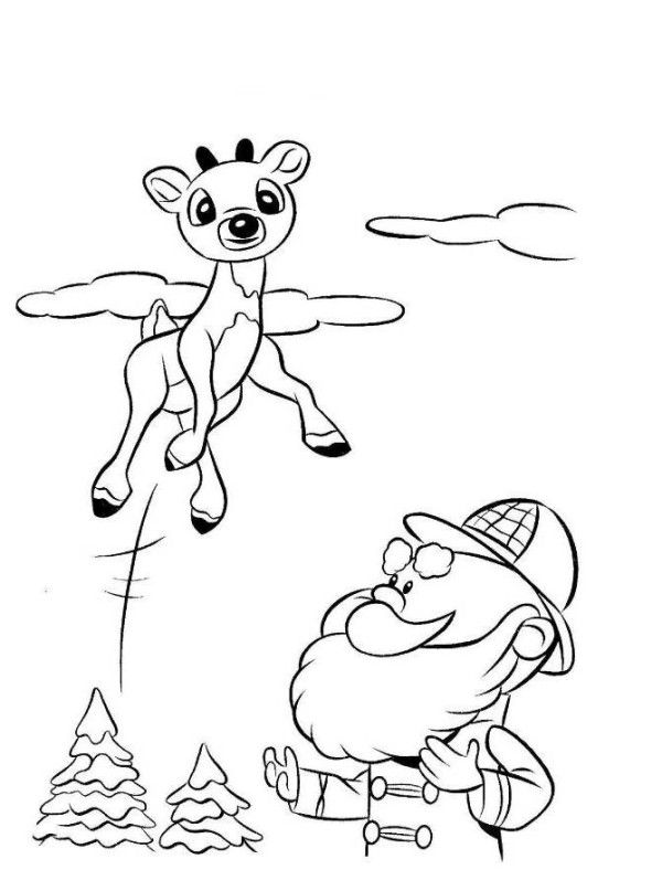 Rudolph Reindeer Jump Coloring Page   Coloring Pages   Pinterest   Santa