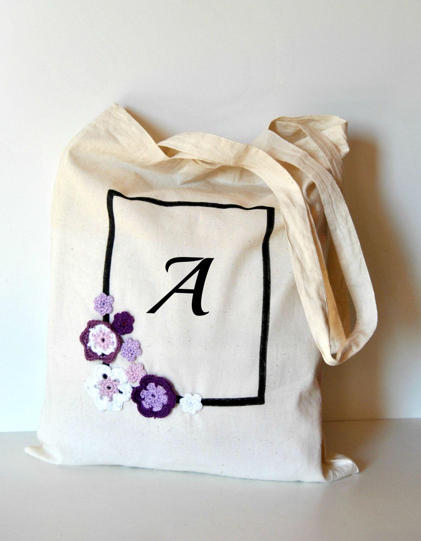 Monogrammed  Tote bag, Custom Fabric Shopper tote, Purple shade flowers tote, Organic cotton bag,  eco bag reusable by Lemiecreazionidarte on Etsy #tote #monogrammed #customizable #gabric #bag