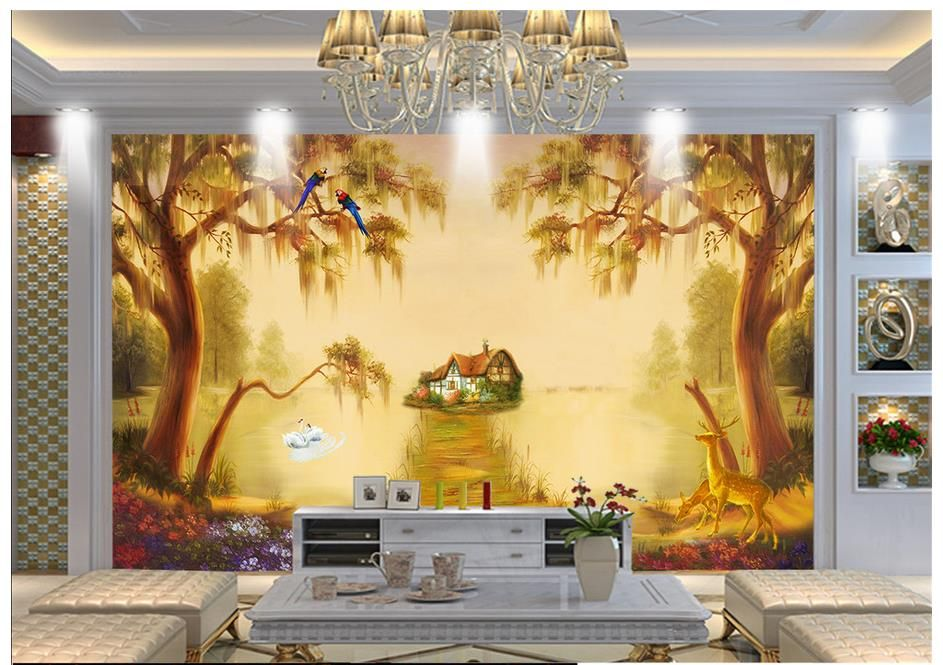 Custom High-end mural 3d photo wallpaper murals Classical swan lake ...