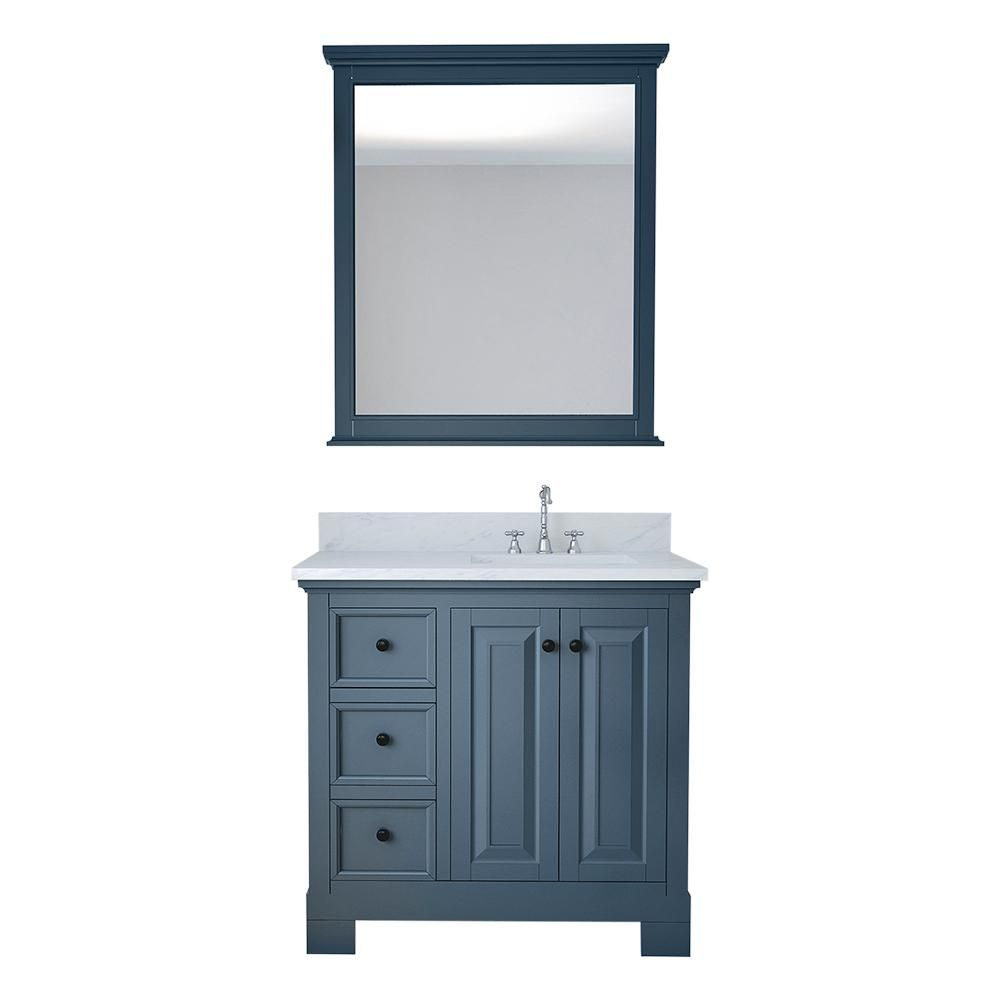 Design Element Eastwood 36 In W X 22 In D Bath Vanity In Gray With Marble Vanity Top In White With Wh Marble Vanity Tops Single Bathroom Vanity Bath Vanities