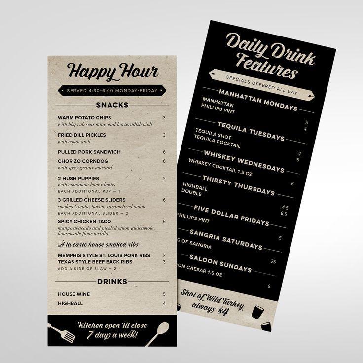 Happy Hour / Feature menu cards for Buckstop. design