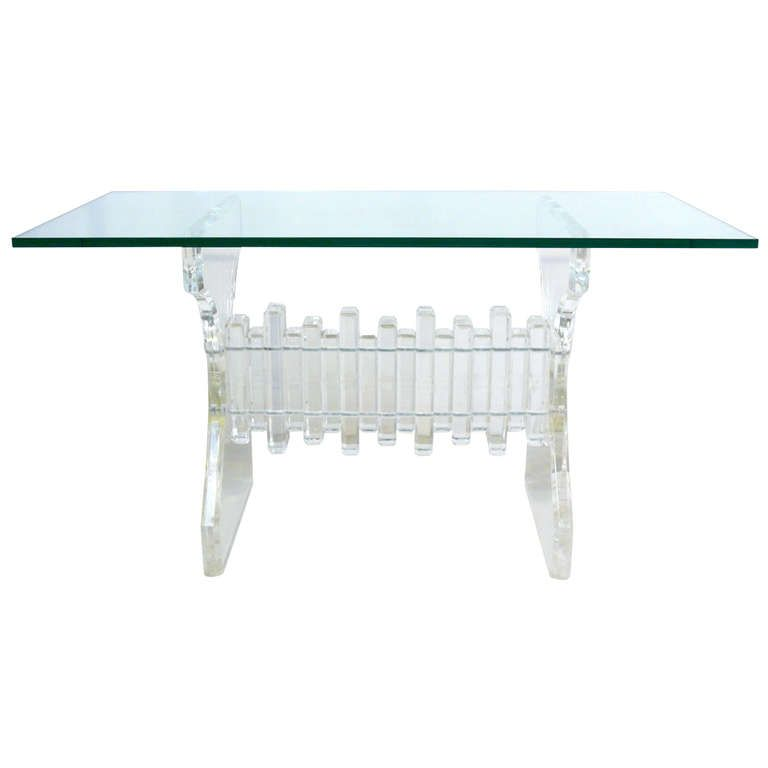 Lucite and Glass Console  USA 60-70