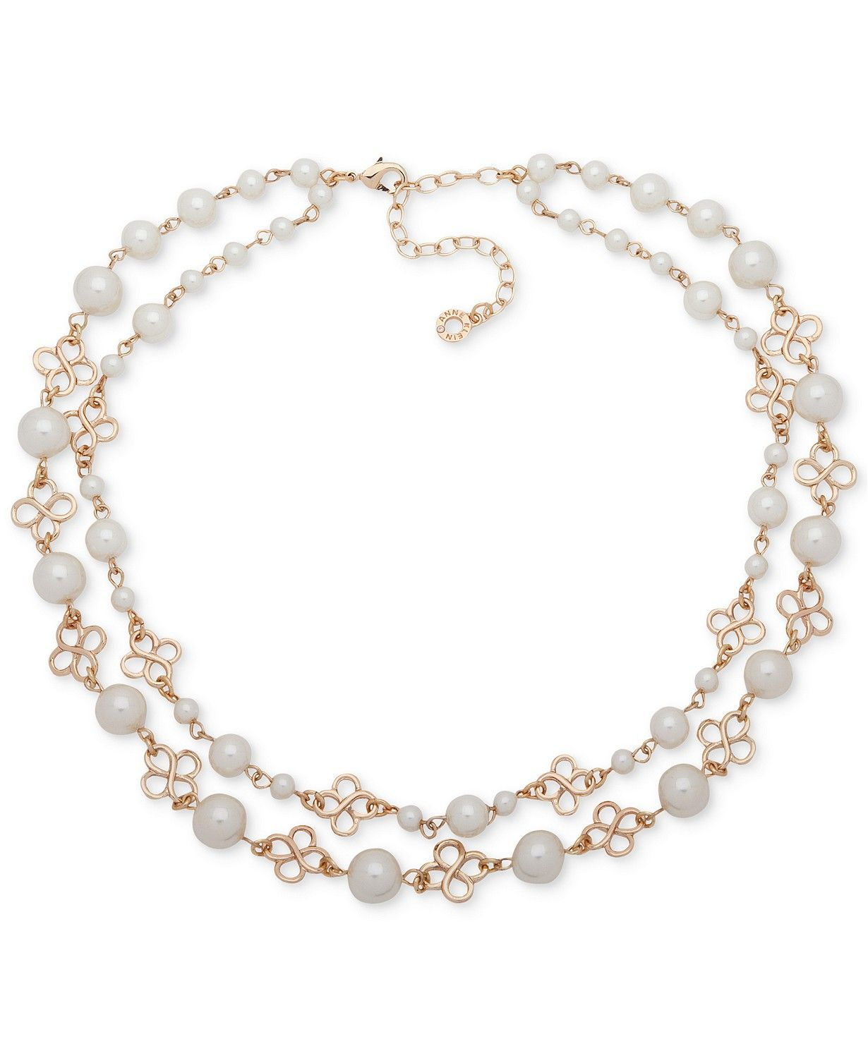 af7fef32c926 Anne Klein Gold-Tone Imitation Pearl Double-Row Collar Necklace