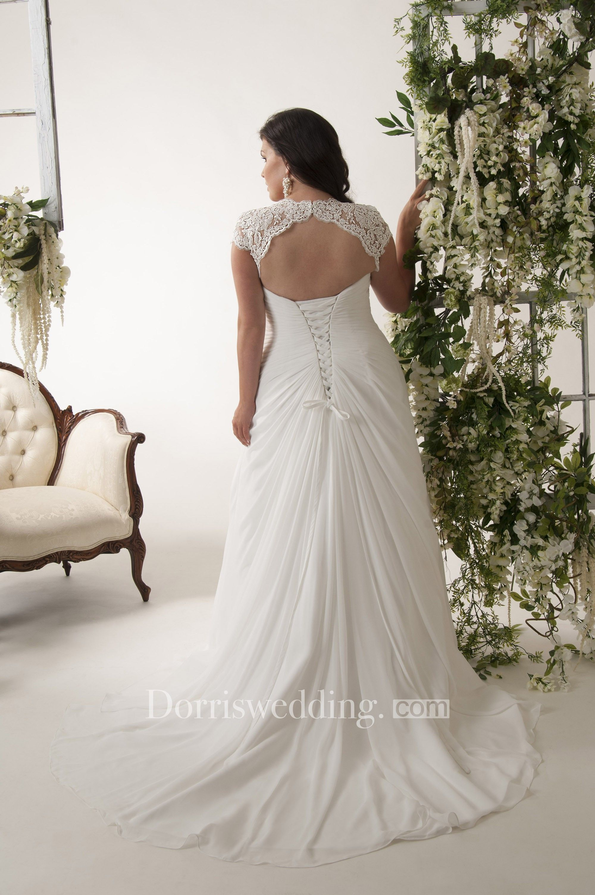Sheath vneck appliqued capsleeve chiffon plus size wedding dress