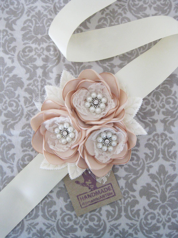 Champagne vestido flor nupcial Sash. Vestido de novia Sash. Champagne Vestido de flor Sash. Rústico Vintage look boda flor vestido Sash.