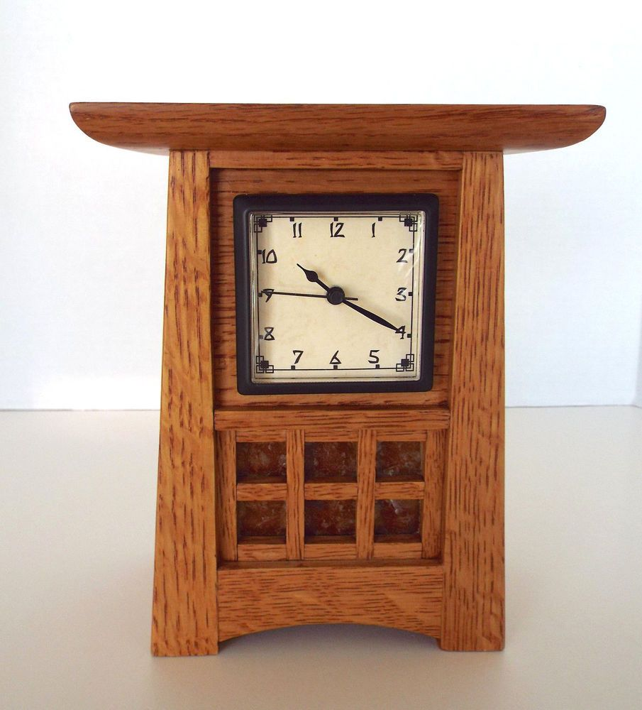 Mission Desk Clock Runs Backwards Arts Crafts Prairie Style Hand