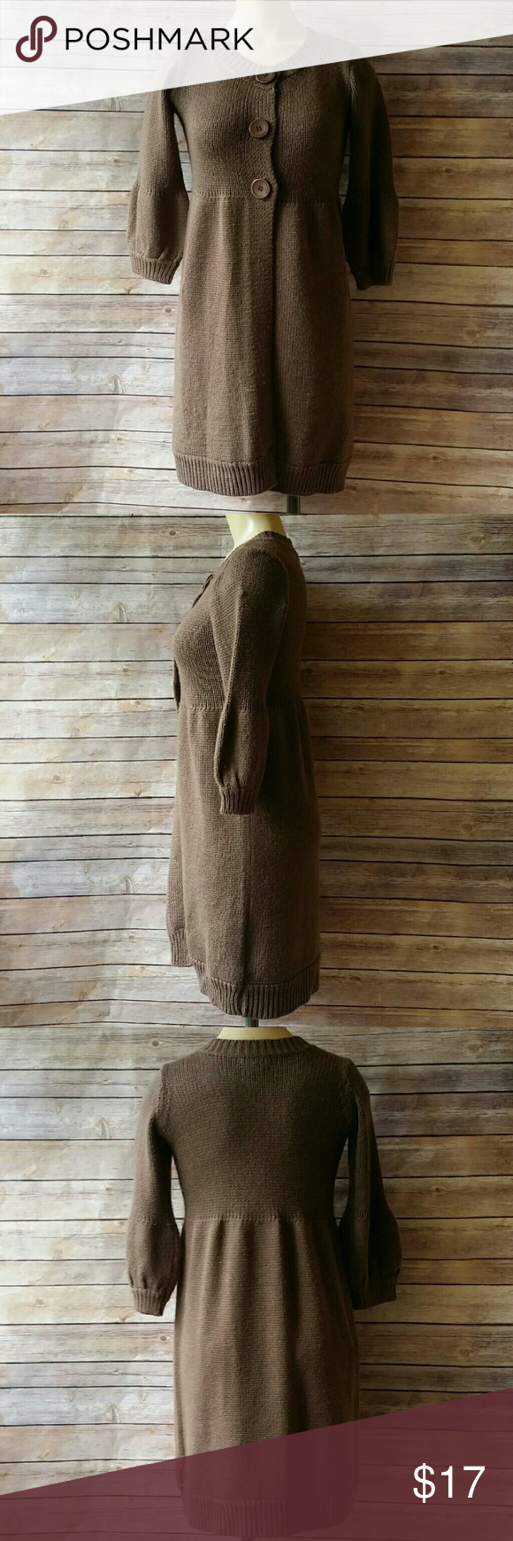 Brown Cardigan With Balloon Sleeves Size Small | Dusters, 21st and ...