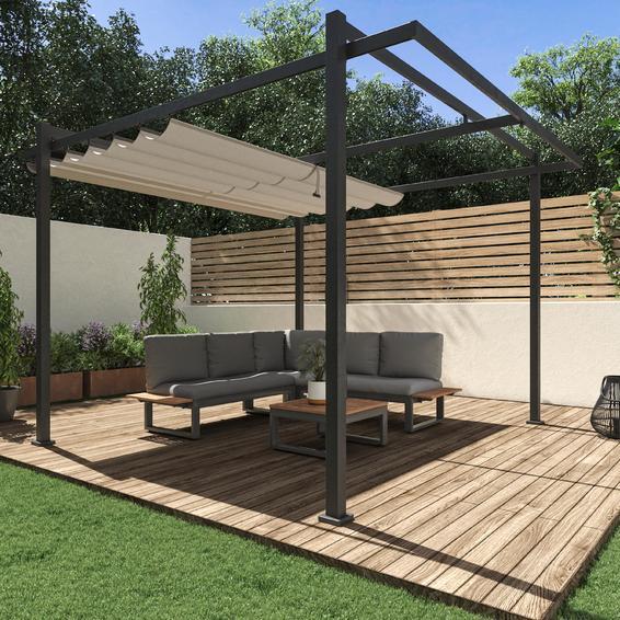 Pergola Equinox 320 Cm X 360 Cm Dark Grey Aluminium Leroy Merlin South Africa Pergola Pool Shade Backyard Garden Design