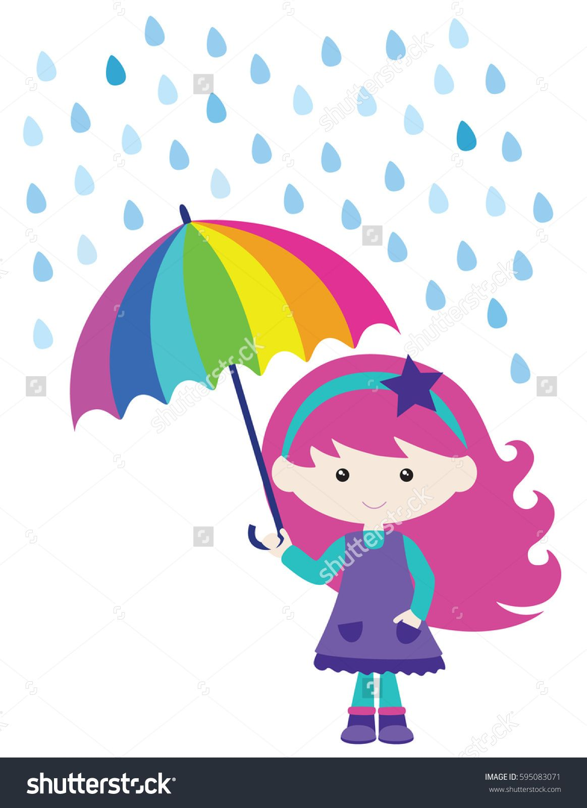 Cute Girl In Rain With Umbrella Vector Illustration With Images