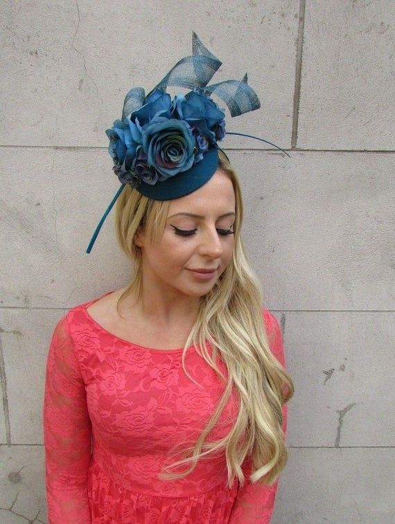 Teal Dark Turquoise Blue Rose Flower Feather Hat Fascinator Races Wedding 6215 #fascinatorstyles