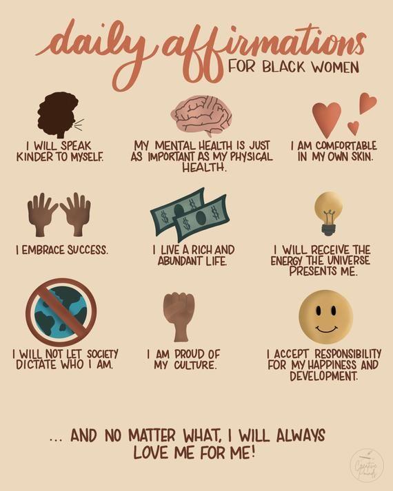 Daily Positive Affirmations for Black Women Art Print | Black Owned | Encouragement | Reminder | Gra