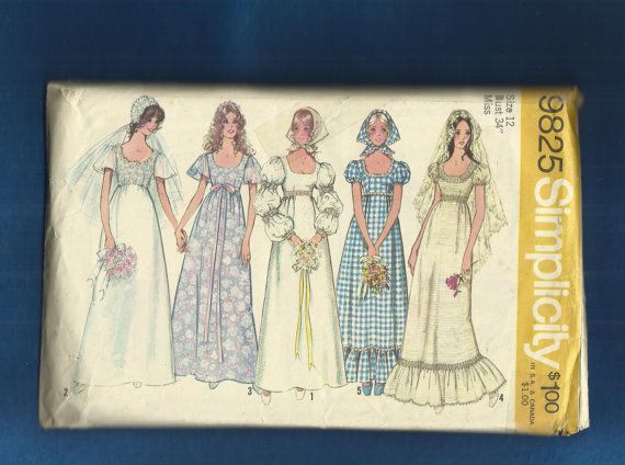 1971 Simplicity 9825 Empire Bodice Wedding Dress or by MrsWooster, $10.00