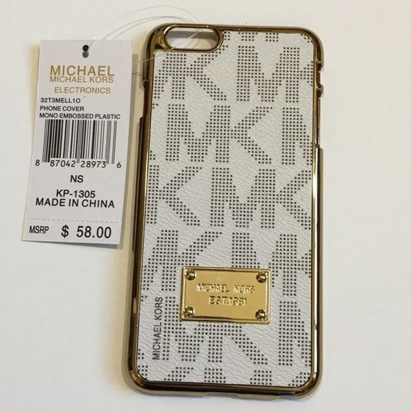cfe75603eb8 Michael Kors iPhone 6 S Plus NWT MK iPhone 6 S Plus case. Monogram off white,  grey, gold accents. MSRP $58 MICHAEL Michael Kors Accessories Phone Cases
