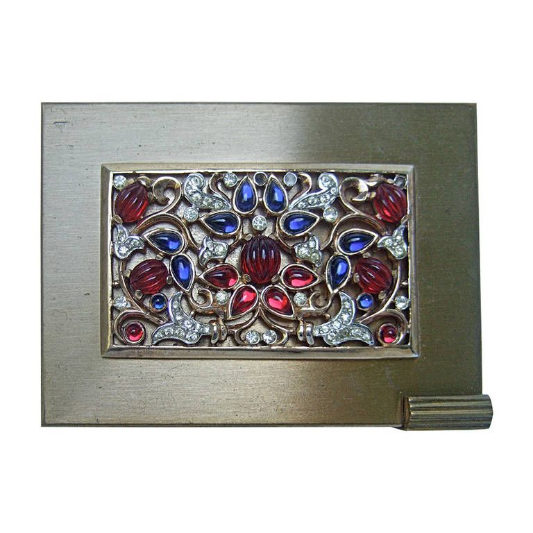Trifari Opulent Art Deco Jewels of India Compact c 1950