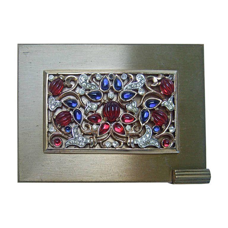 Trifari Opulent Art Deco Jewels of India Compact c 1950