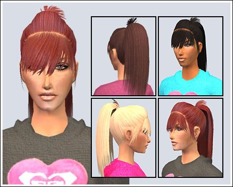 sims 4 child hair with ponytail in middle of head long hair - Google Search