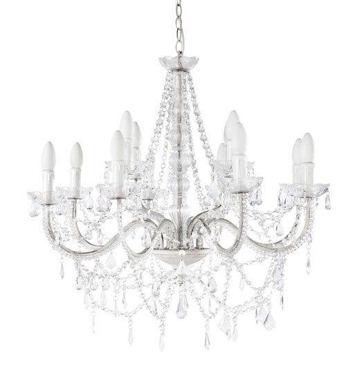 Lustre à pampilles 12 branches en métal blanc D 73 cm | Lustre