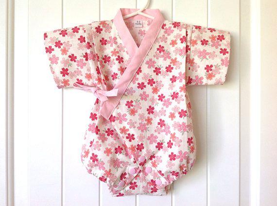 Baby Romper Jinbei Kimono And Headband Japanese Dobby Fabric Baby