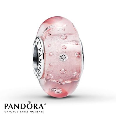 Pandora Pink Glass Charm Clear CZ & Sterling Silver!