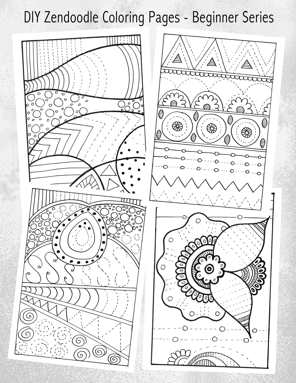 Set Of Printable Diy Zendoodles Complete The Zendoodle To