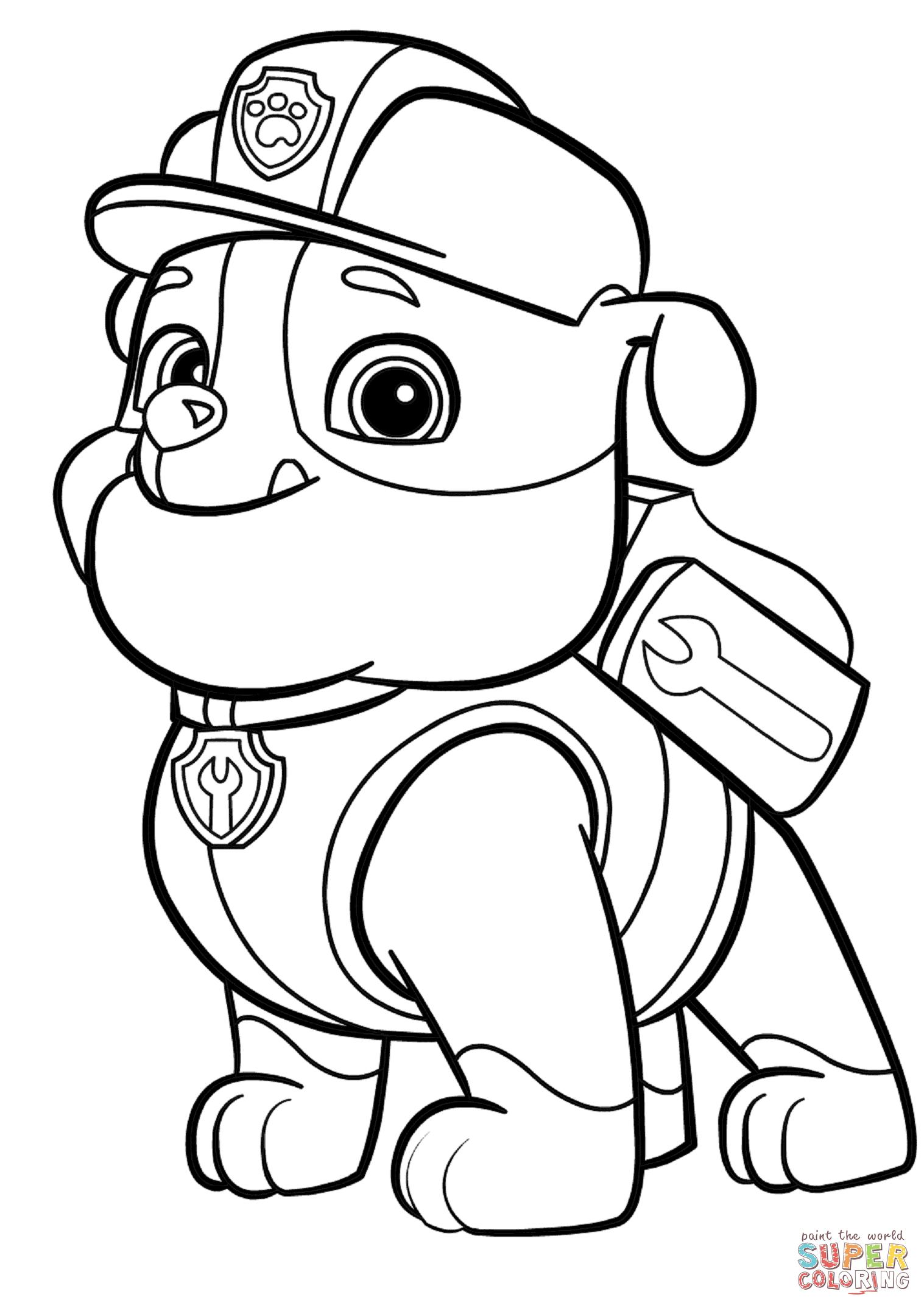 Psi Patrol Rubble Super Coloring Kids Pinterest Paw Patrol