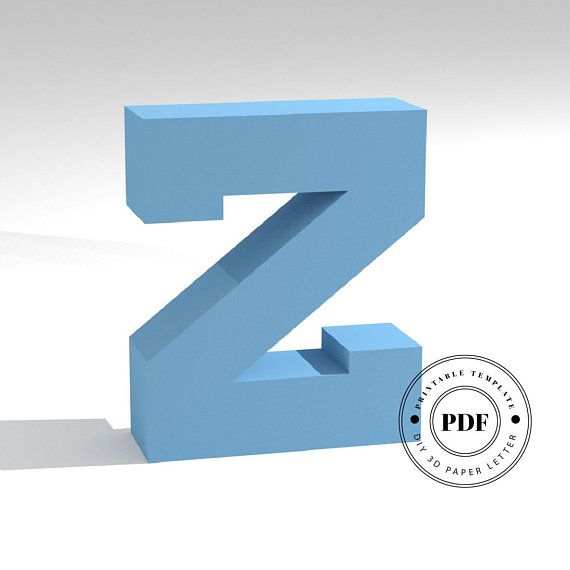 Printable Diy Template Pdf Letter Z Low Poly Paper Model Template