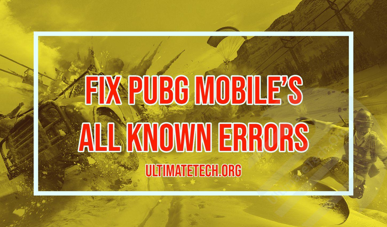 Fix pubg mobile all known errors in 2020 mobile data