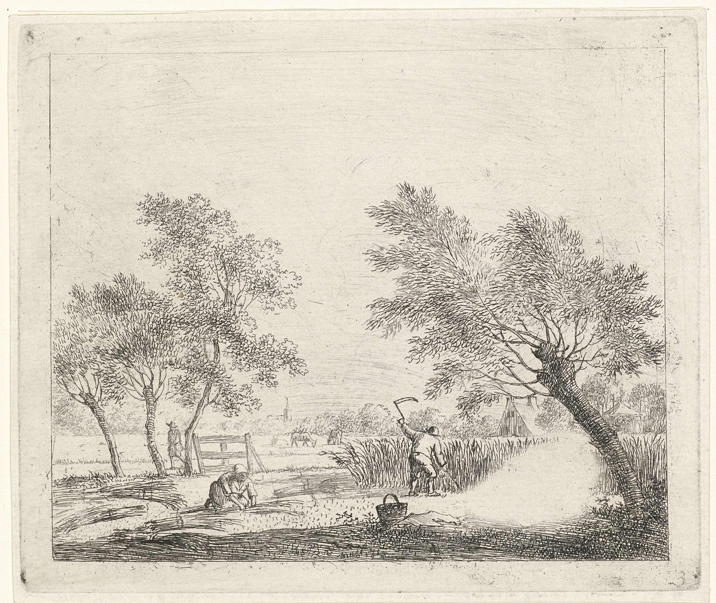 Johannes Janson | Landschap met korenoogst, Johannes Janson, 1783 | Landschap met boerin die koren bijeen bindt en een boer die koren oogst. Links op de achtergrond een wandelende man. Twee figuren onder de boom rechts zijn uitgeslepen. Vóór de lucht. Negende prent uit een serie van dertien met maanden.
