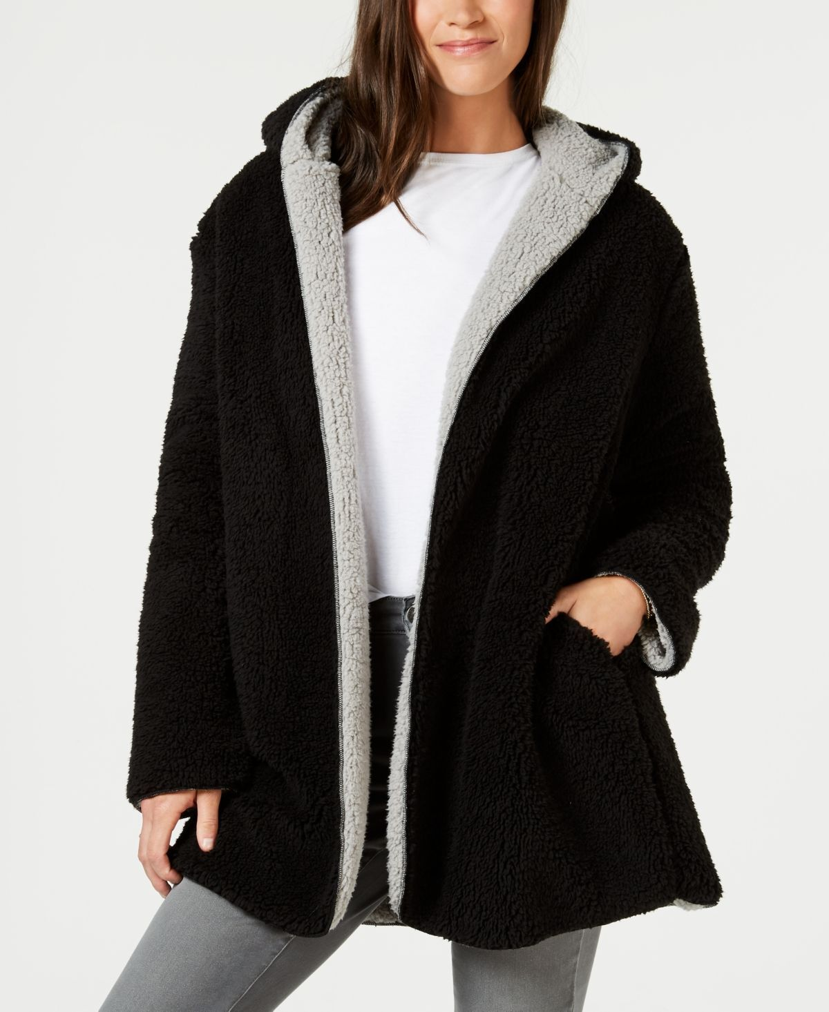 Style & Co Reversible FauxSherpa Jacket Created for Macys