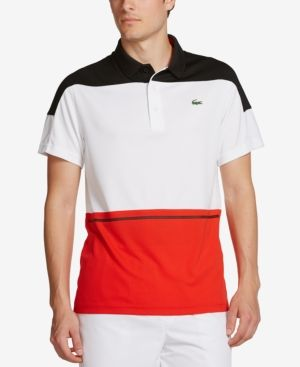 75bf1dda45a3 Lacoste Men s Sport Colorblocked Performance Polo Shirt -  Black White-Corrida 3XL