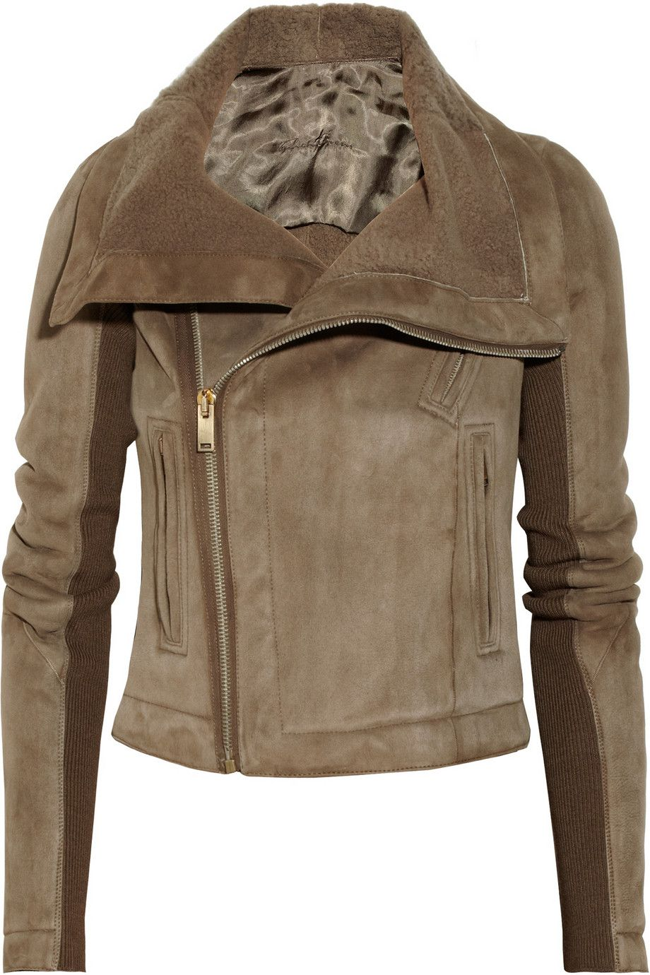 Rick Owens Shearlinglined leather biker jacket NETA