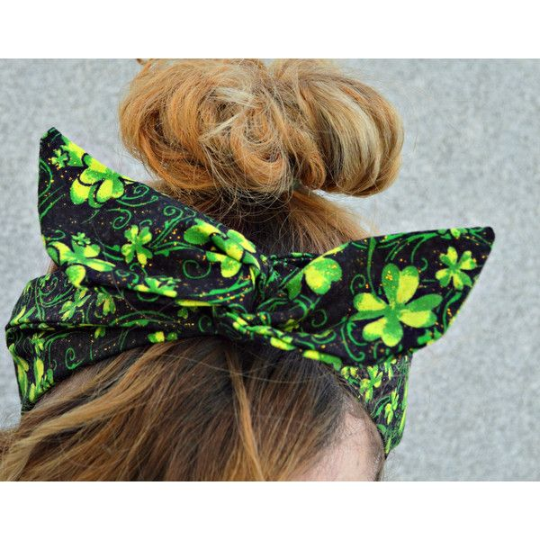 St Pattys day headband, headbandGreen Dolly bow headband green... ($13) ❤ liked on Polyvore featuring accessories, hair accessories, bow headwrap, green hair accessories, bow headbands, headband hair accessories and hair band accessories