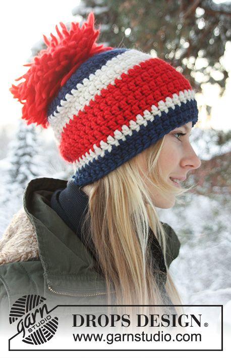 Bonnet DROPS au crochet, en Eskimo. | Chapeau crochet, Tricot et crochet, Modele crochet gratuit