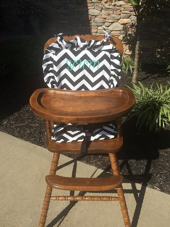 Wooden Highchair Covercushionpad Black Chevron For Woodenvintage