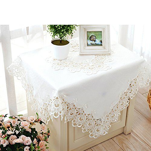 European Style White Embroidery Side Table Square Round Hollow Lace Coffee Cloth A Diameter150cm 59inch