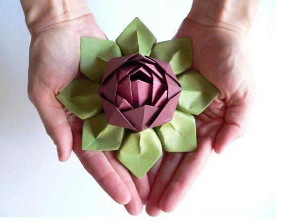 Flor De Lotoen Papel Artesanías De Flores Flor De Loto Origami Tutorial De Flor