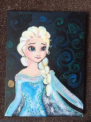 Elsa Disney S Frozen Acrylic Hand Painted Canvas Unique Princess Canvas Hand Painted Canvas Summer Art Projects