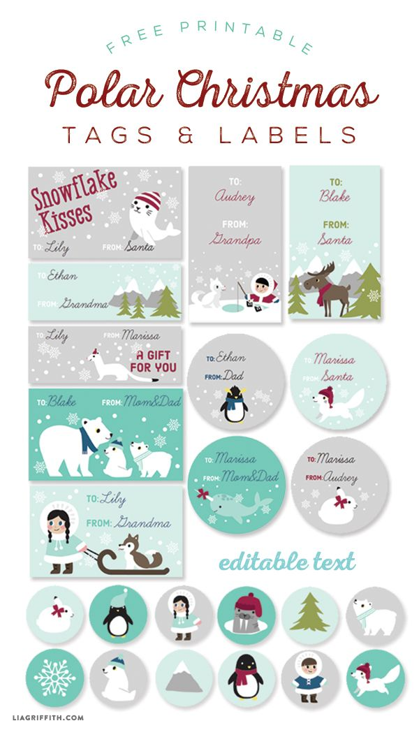 Christmas Gift Tags For Kids.Free Printable Polar Labels And Tags For Kids Designed By