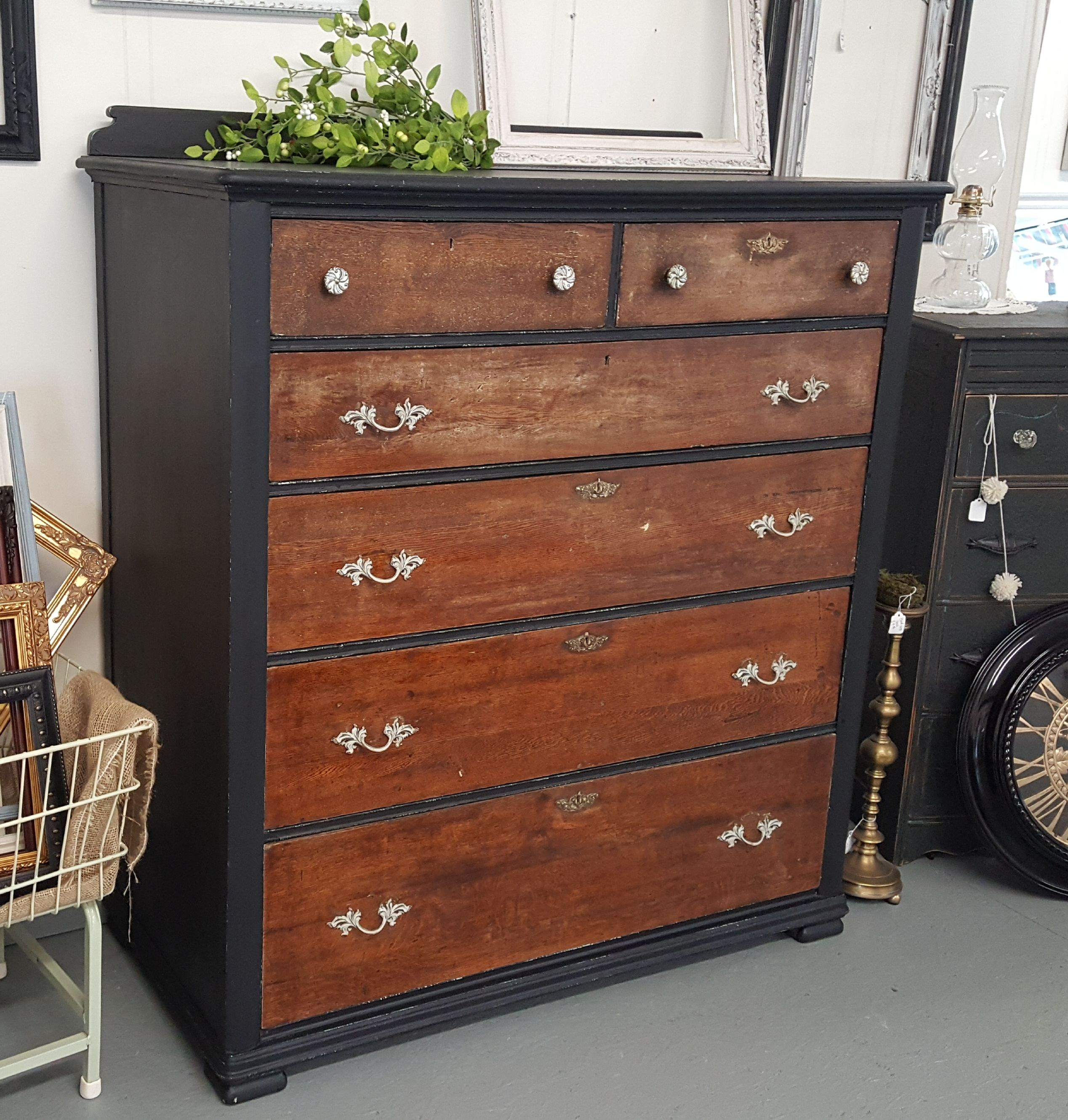 Great Antique 4Ft Wide And Tall Dresser With Black Distressing