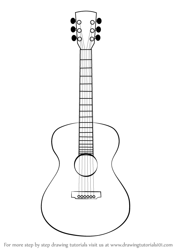 Learn How To Draw An Acoustic Guitar Musical Instruments Step By Step Drawing Tutorials Guitar Sketch Guitar Drawing Guitar Outline