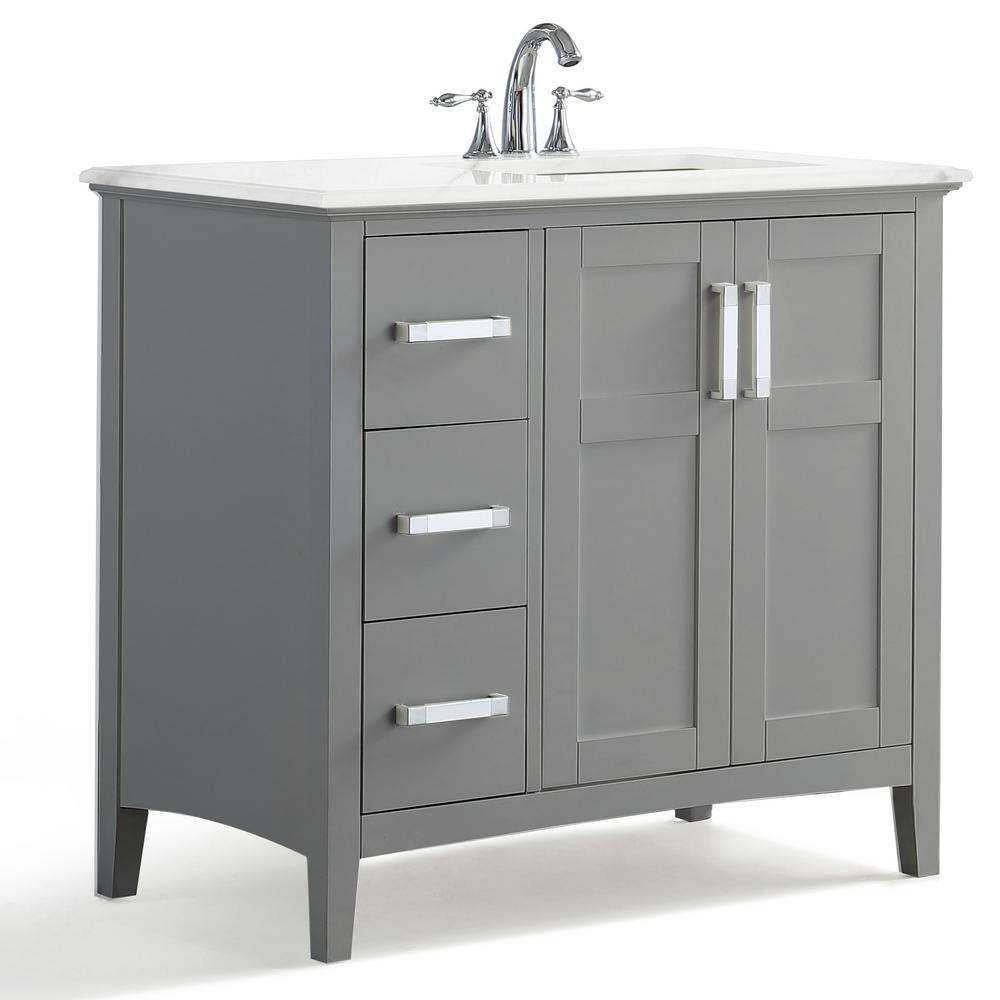 Simpli Home Winston 36 In Right Offset Bath Vanity In Warm Grey With Marble Extra Thick Vanity Top In Bombay White With White Basin Winstonwg 36 R The Home D Bath Vanities Vanity 36 inch gray bathroom vanity